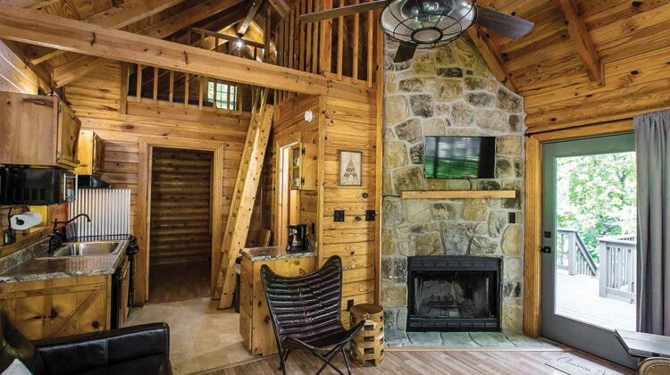 The rustic living room of a tiny home