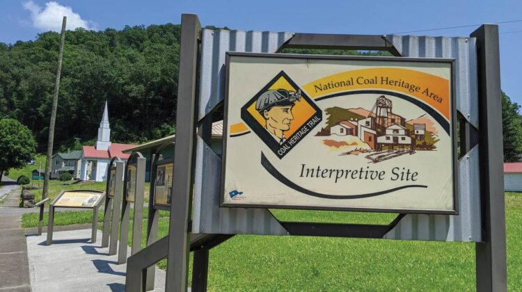 A sign marking the National Coal Heritage Area Interpretive Site