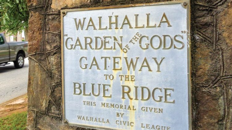 A picture of a sign that says Walhalla Garden of the Gods, Gateway to the Blue Ridge