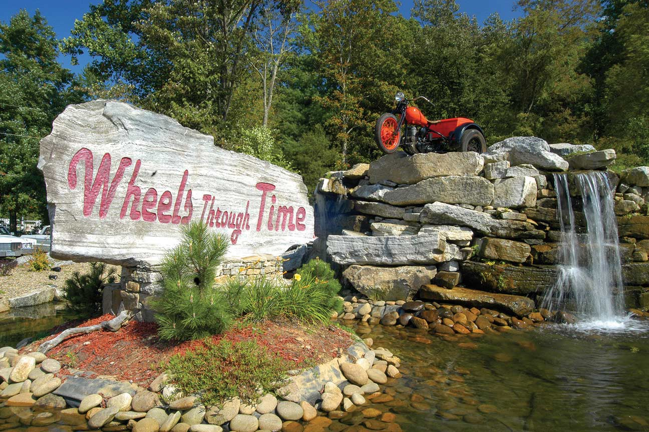 The entrance to Wheels Through Time museum.