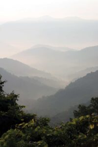 A misty view of the Smoky Mountains.