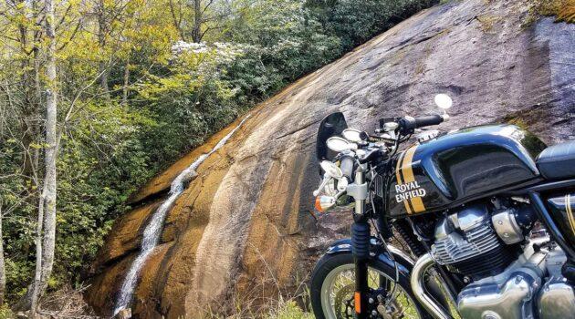 A Royal Enfield motorcycle near Bald Rock