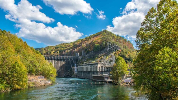 A view of the Cheoah Dam and powerhouse