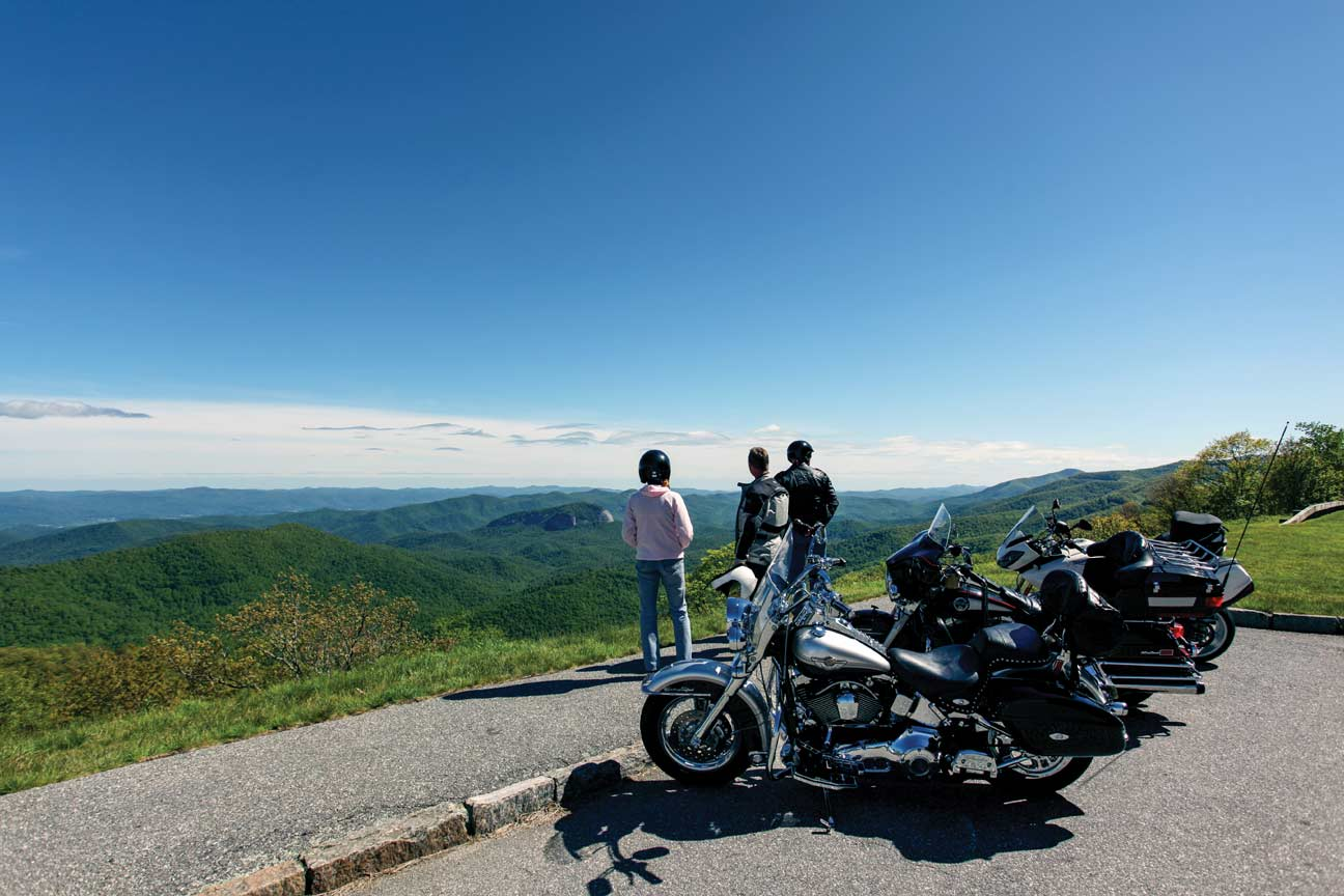 Motorcycle riders take a break at an overlook on the Blue Ridge Parkway