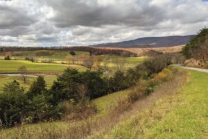 A scenic rural view with the Allegheny Mountains in the distance