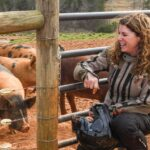 A woman in motorcycle attire sits beside a livestock pen.