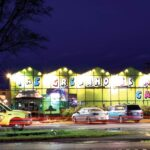A night view of a brightly-colored building